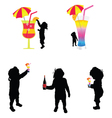 Baby silhouette with cold drink vector