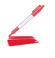 Red marker drawing on the sheet of paper vector