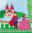 Princess and the prince in a beautiful garden vector