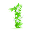 Grass letters number 1 vector