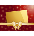 Gold christmas bow and label landscape vector