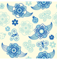 Spring seamless pattern with flowers and ladybirds vector
