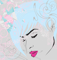Abstract background with girls face vector