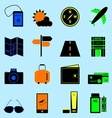 Travel colorful icons set on light blue background vector