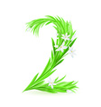 Grass letters number 2 vector