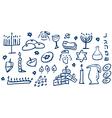 Hanukkah symbols doodles vector