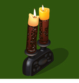 Burning old ornamental candles vector