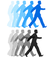 Business man walking forward action vector