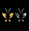 Butterfly logo in gold and silver colors vector