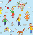 Seamless pattern with kids playing vector