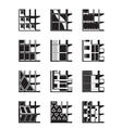 Different types of facades of buildings vector