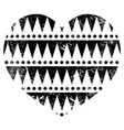 Aztec tribal pattern heart - retro grunge style vector