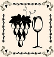 Vintage grapes and wine vector