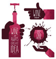 Wine glass and wine bottle vector