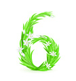 Grass letters number 6 vector