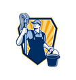 Janitor cleaner hold mop bucket shield retro vector
