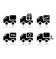 Delivery car shipping icons set vector