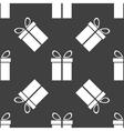 Gift web icon flat design seamless gray pattern vector