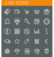 Line icons set shopping and sale objects web vector