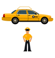 Taxi car and the taxi driver vector
