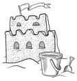 Doodle sand castle terrible vector