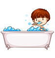 A simple sketch of a boy bathing vector