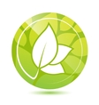 Round green leaves icon button vector