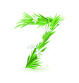 Grass letters number 7 vector
