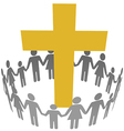 Family circle christian community cross vector