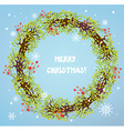 Christmas wreath with berries and snow vector