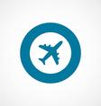 Airplane bold blue border circle icon vector