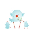 Cartoon fun and cute mother bird with her babies vector