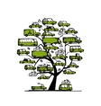 Tree with green cars transportation concept for vector