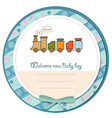 Baby shower card with toy train vector