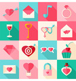 Valentine day flat icons with long shadow vector