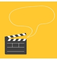 Open movie clapper board with speech bubble vector