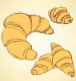 Sketch croissants set in vintage style vector