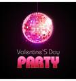 Valentine disco poster disco ball vector