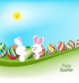 Easter eggs and bunny spring banners with blue sky vector