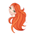 Beautiful red-haired woman with long hair vector