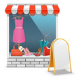 Boutique with billboard vector