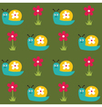 Seamless pattern with snails and flowers vector