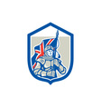 Knight holding british flag shield retro vector