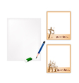 Pencil and halloween photo frame with blank paper vector