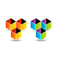 Logo with colorful cubes and shadow vector