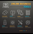 Online business tools on dark pegboard vector