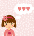 Pretty girl thinks about love heart background vector