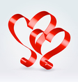 Couple red ribbon hearts vector