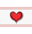 Valentine card with red glossy heart vector
