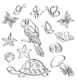 Exotic fauna outline set vector
